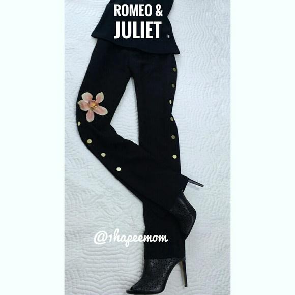 d5dbe5d8cb Romeo & Juliet Couture Pants | Romeo Juliet Black Gold Side Snap ...